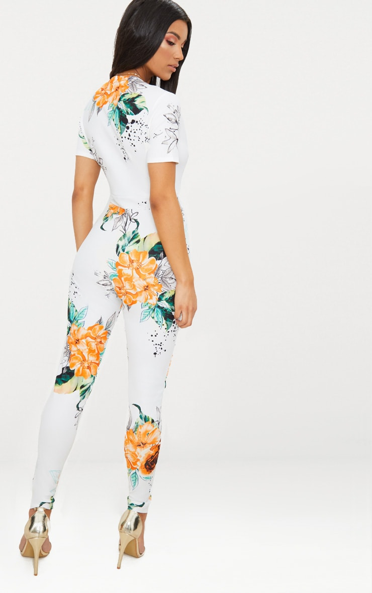 White Floral Plunge Short Sleeve Jumpsuit 2
