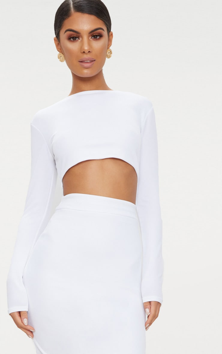 White Cut Out Detail Long Sleeve Maxi Dress 5