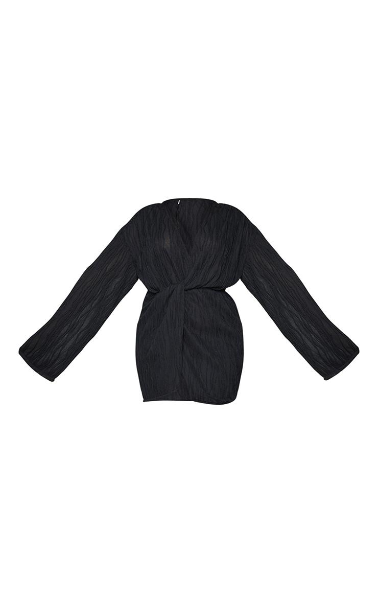 PLT Plus - Robe texturée noire à devant portefeuille 5