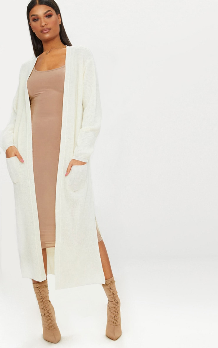 Cream Pocket Front Maxi Cardigan 1