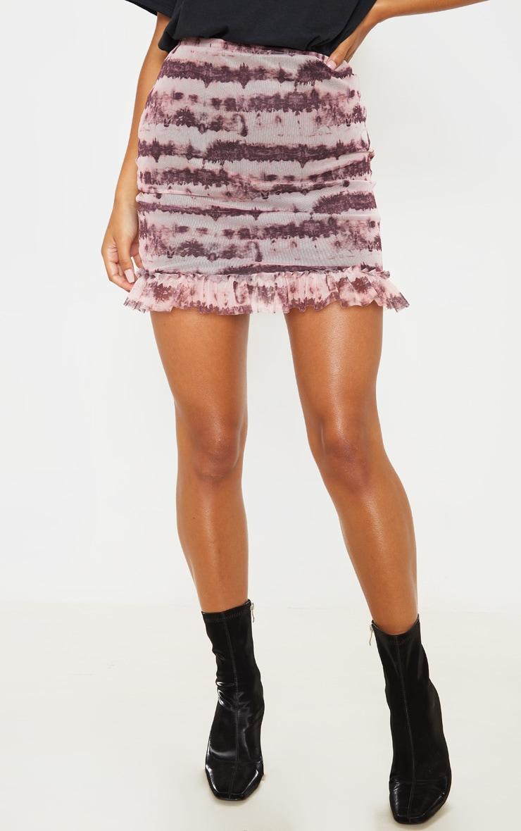 Maroon Mesh Tie Dye Frill Hem Mini Skirt 2