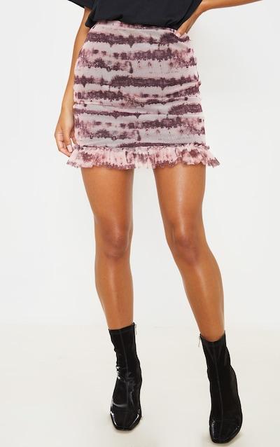 Maroon Mesh Tie Dye Frill Hem Mini Skirt