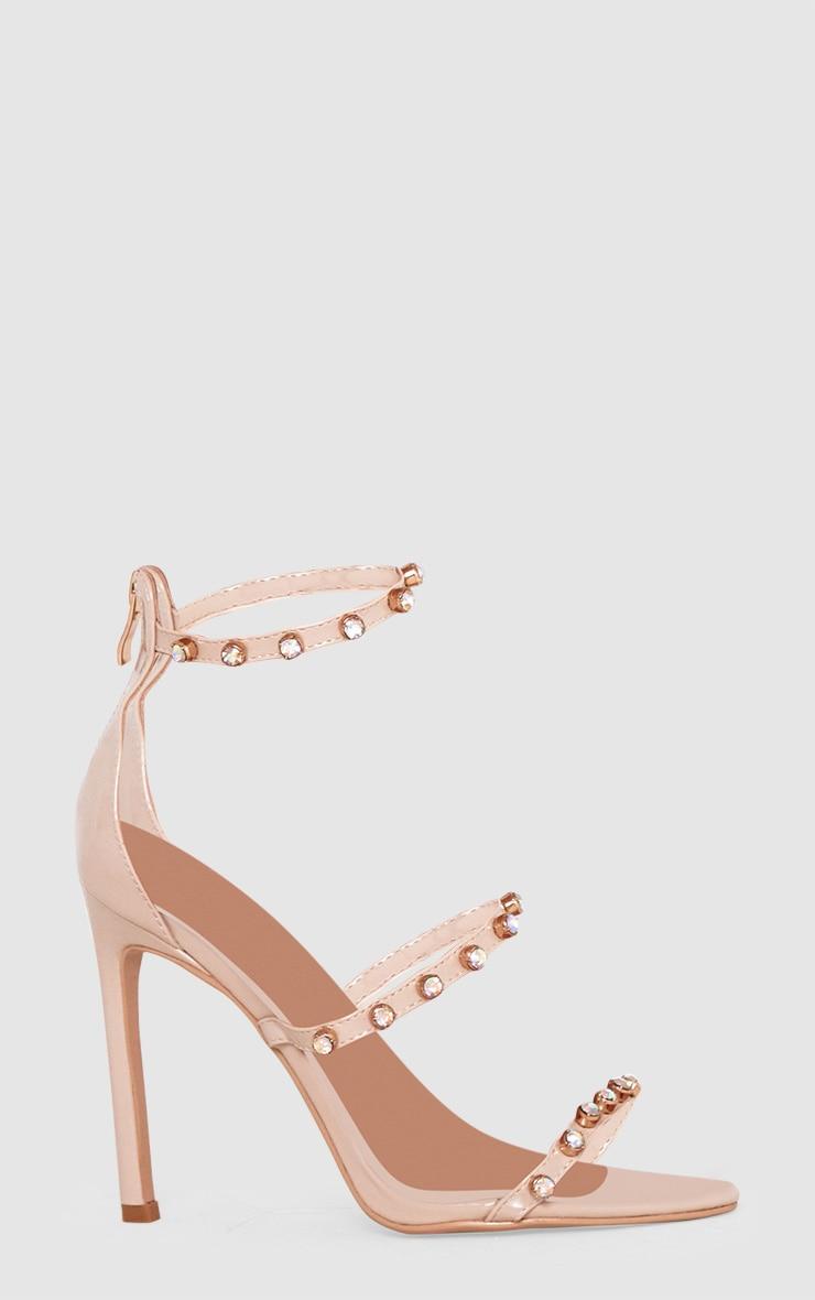 Nude Diamante Three Strap Heels 3