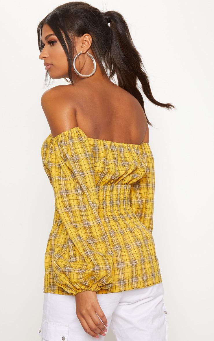 Mustard Check Shirred Detail Long Sleeve Bardot Top 2