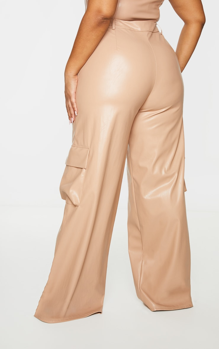 Plus Taupe PU Cargo Wide Leg Trousers 3