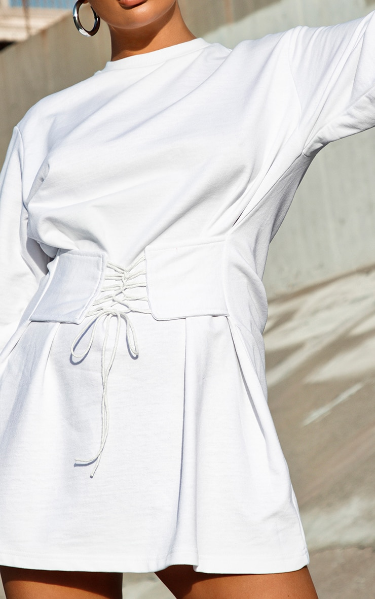 White Corset Detail Sweat Jumper Dress 4