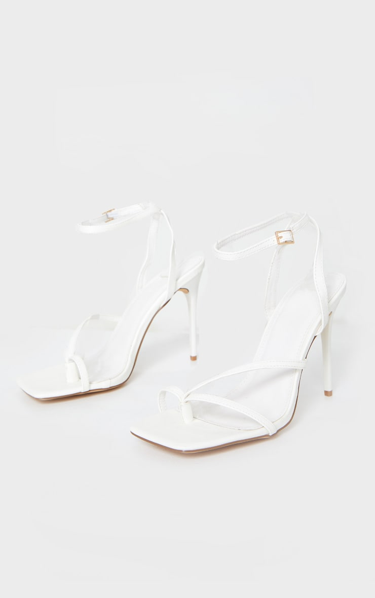 White PU Square Toe Strappy High Heeled Sandals 5