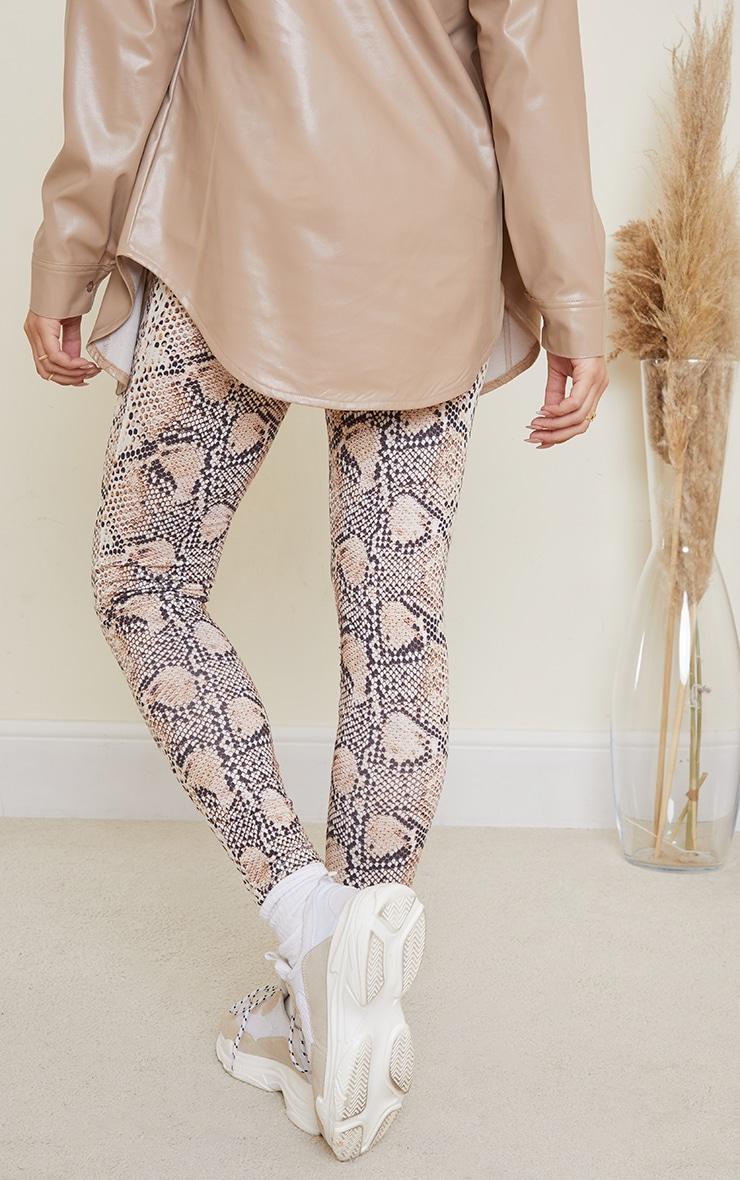 Maternity Brown Snake Print Jersey Leggings 3