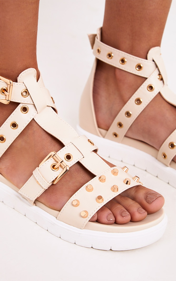 Clarice Nude Studded Gladiator Sandals 4