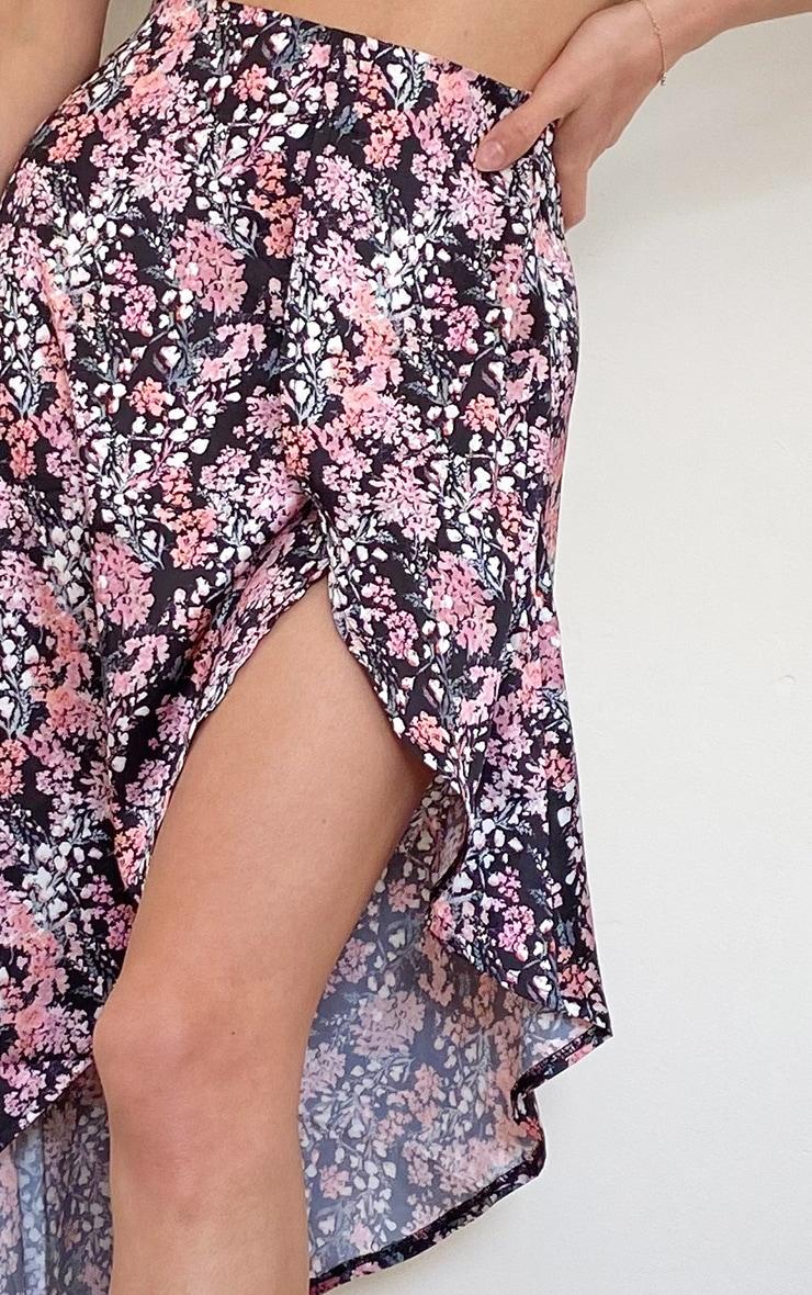 Black Ditsy Floral Satin Asymmetric Skirt 4