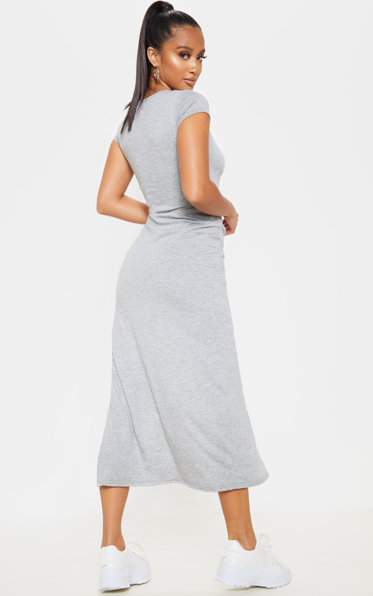 Petite Grey Marl Jersey T Shirt Midi Dress 2