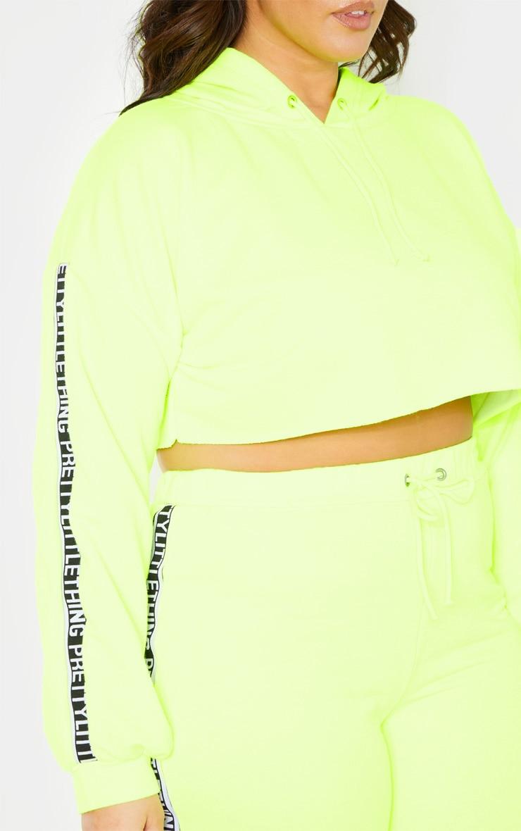 PLT Plus - Hoodie court vert citron fluo PRETTYLITTLETHING 5