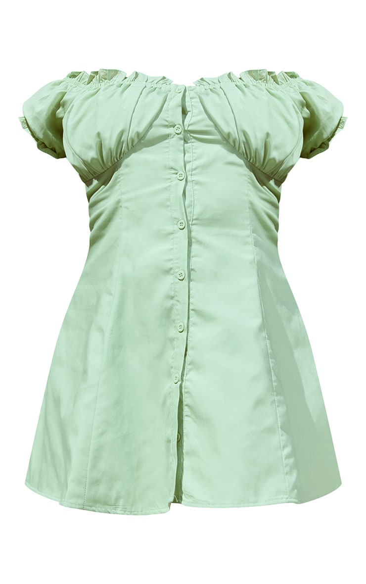 Plus Sage Green Button Front Puff Sleeve Shift Dress 5