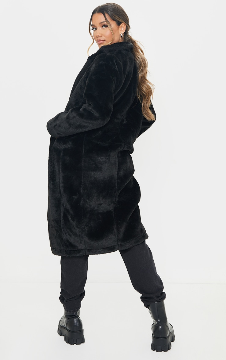 Black Large Lapel Midaxi Faux Fur Coat 2