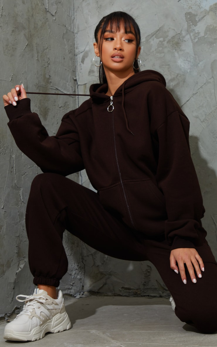 Petite Chocolate Brown Extreme Oversized Pocket Front Zip Through H 3