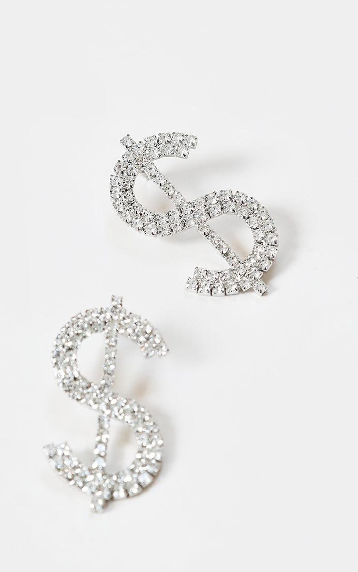 Silver Diamante Dollar Sign Large Stud Earrings 2