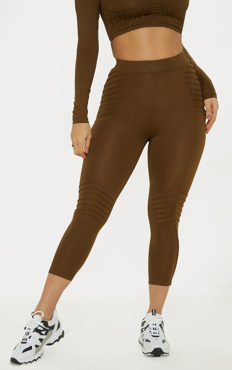 Khaki Ribbed Detail Gym Legging 2