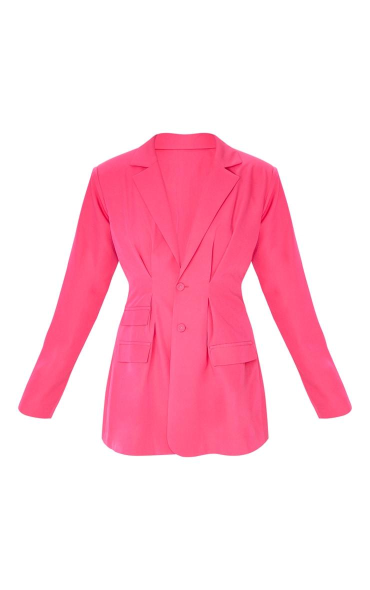 Hot Pink Woven Cinched Waist Shoulder Padded Blazer 3