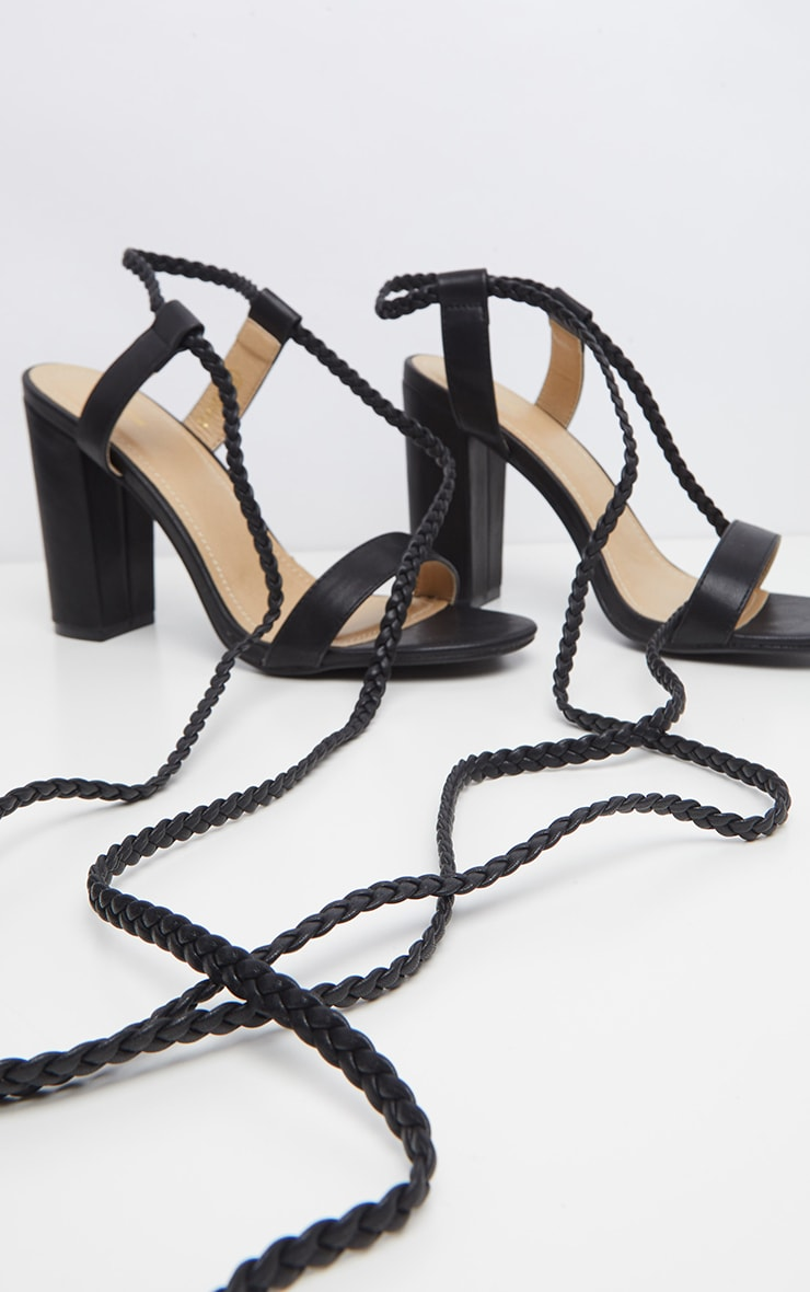 Black Plaited Ankle Tie Block Heel Sandal 4