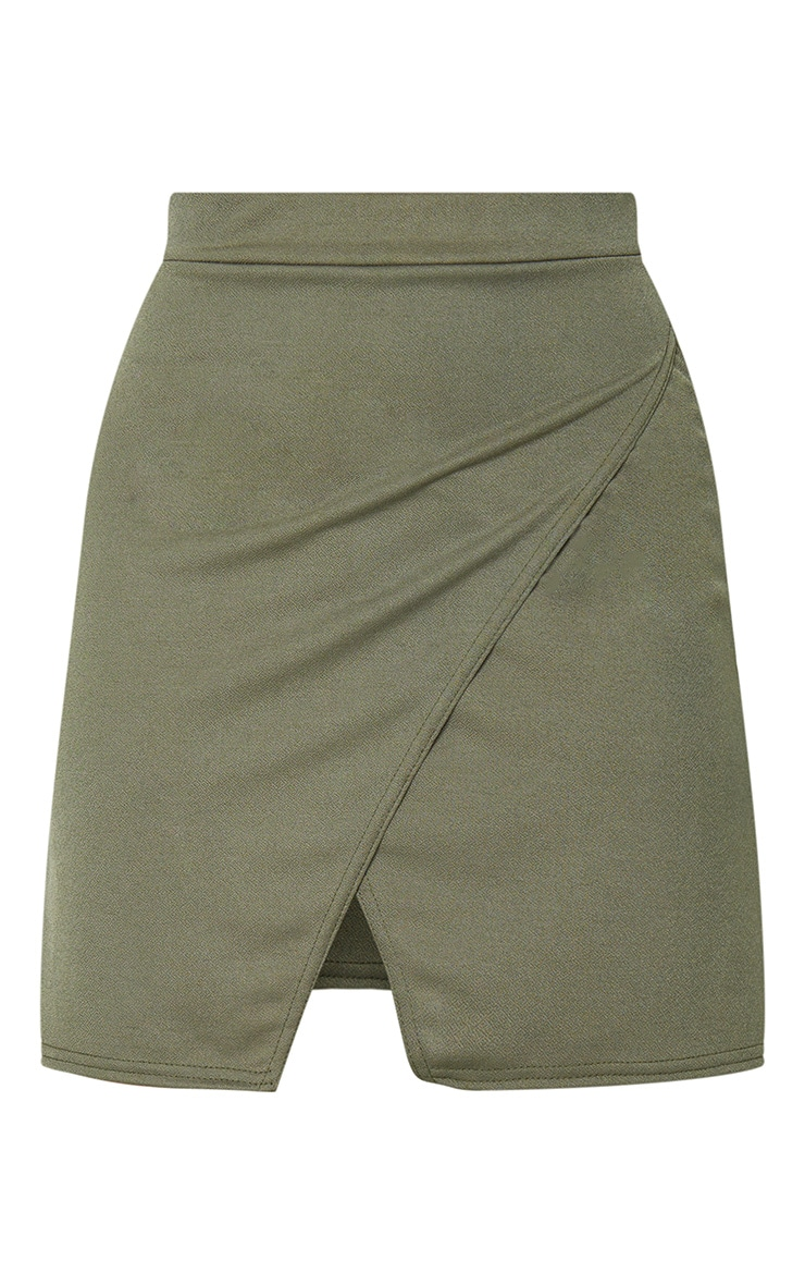 Petite Olive Green Crepe Oriental Wrap Skirt 6
