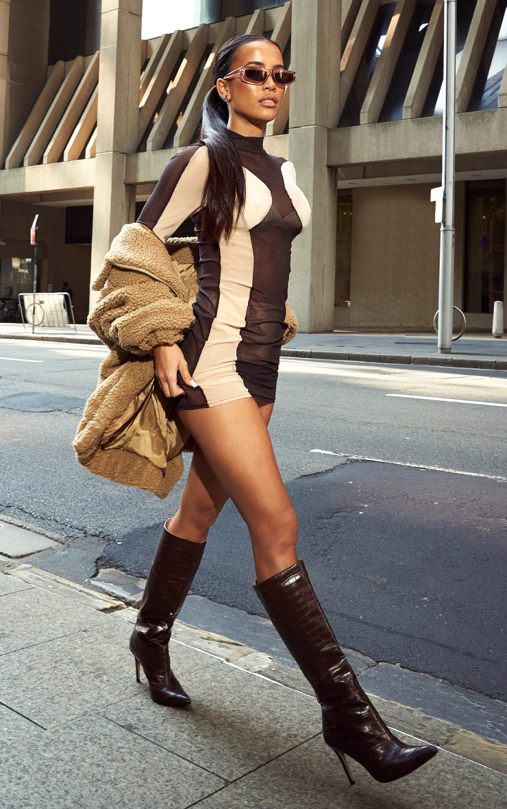 Chocolate Mesh Contrast Panel Long Sleeve Bodycon Dress