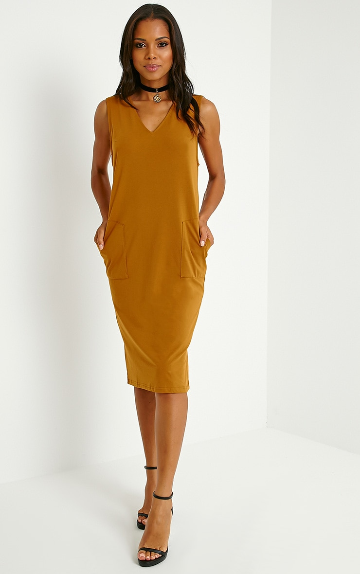 Raine Dark Mustard V Front T-Shirt Dress 1