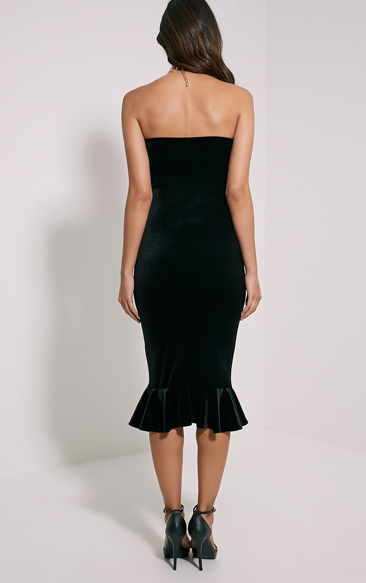 Tawny Black Velvet Bandeau Midi Dress 3
