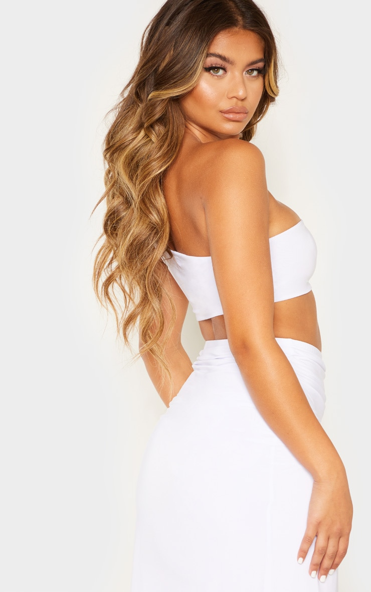 White Slinky One Shoulder Crop Top 2