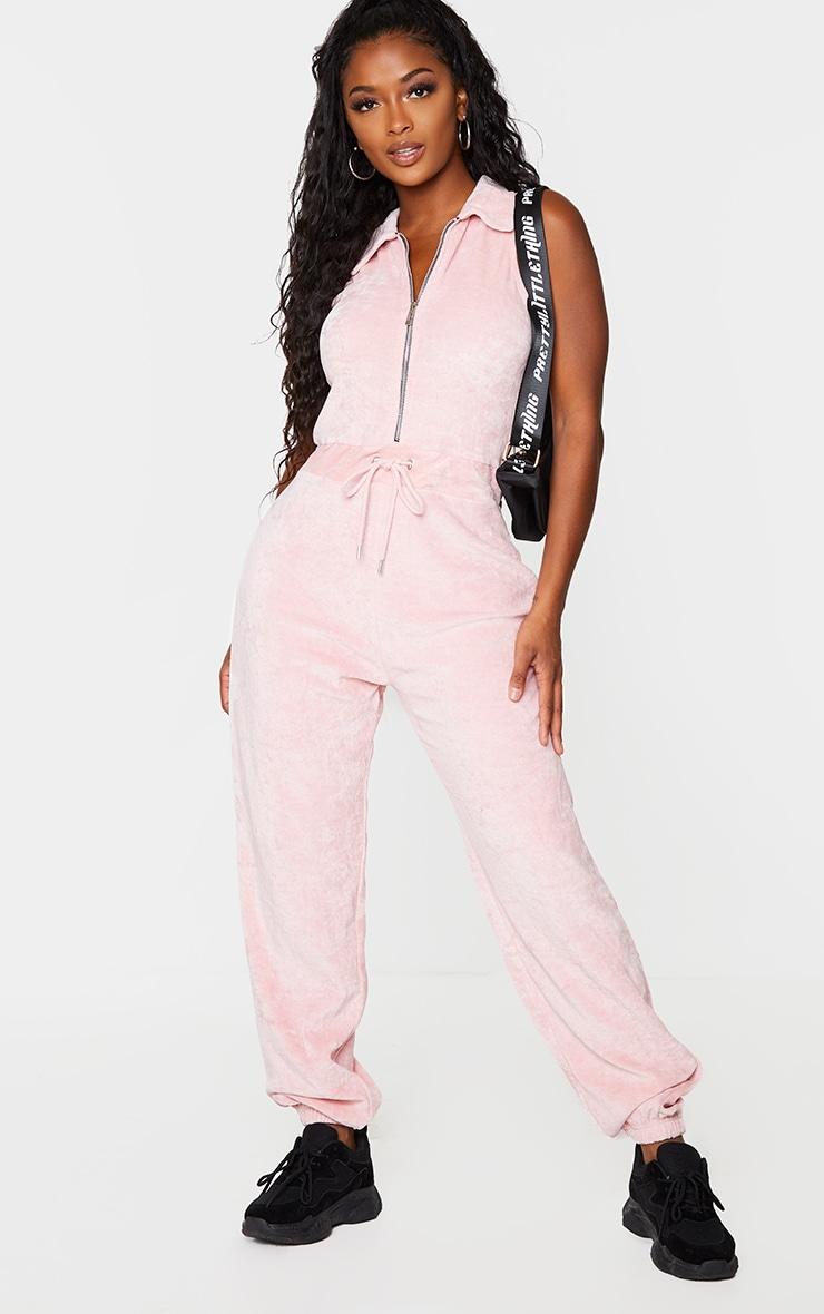 Shape Pink Velour Tie Waist Sleeveless Jumpsuit 1