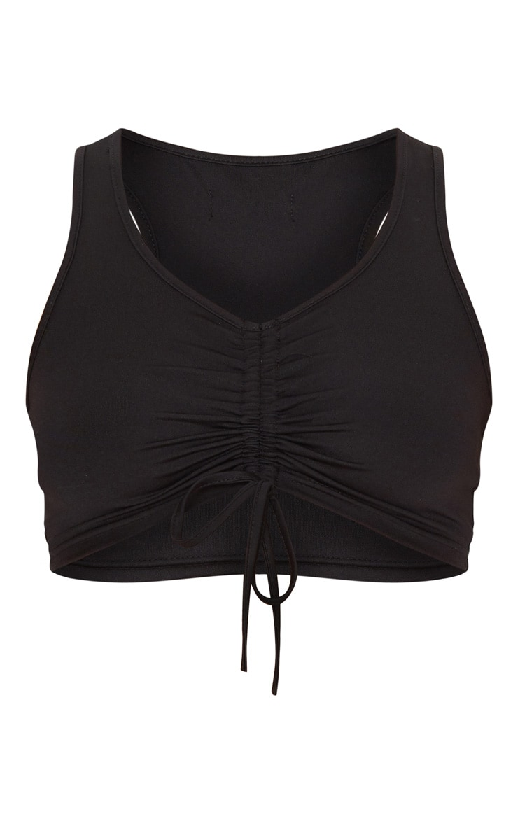 Black Sleeveless Ruched Front Sports Top 3