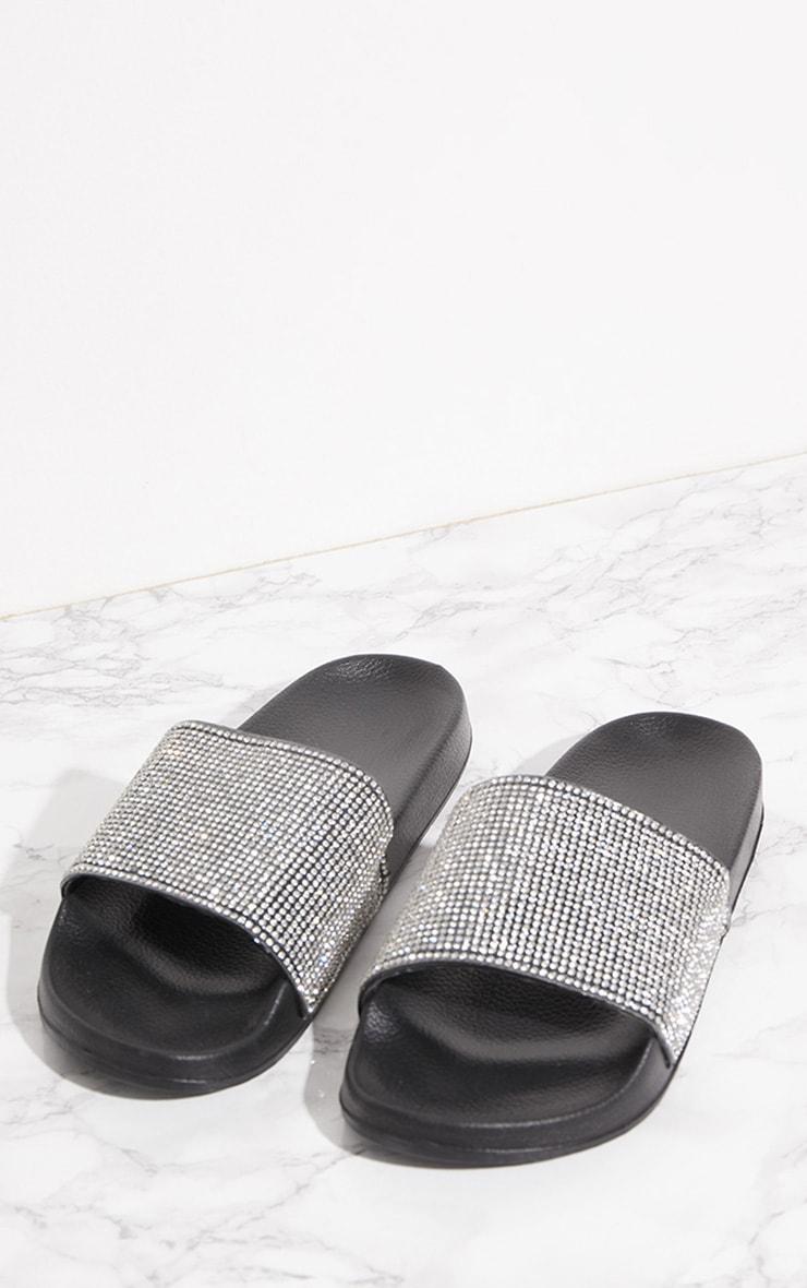 Black Diamante Strap Slider 7