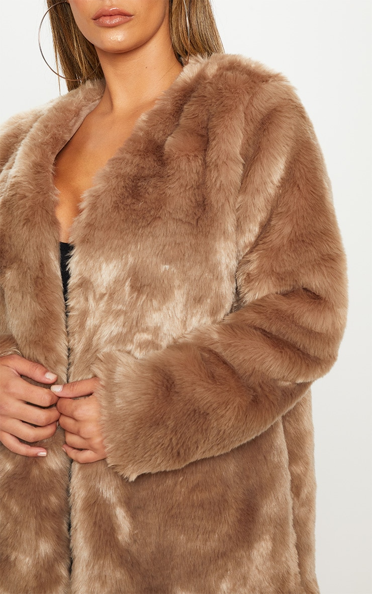 Brown Midi Faux Fur Coat  5