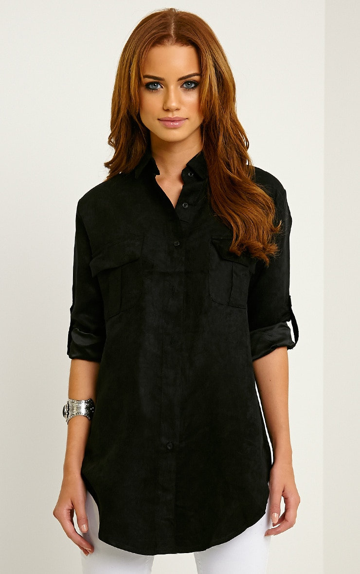 Blithe Black Faux Suede Oversized Shirt 1