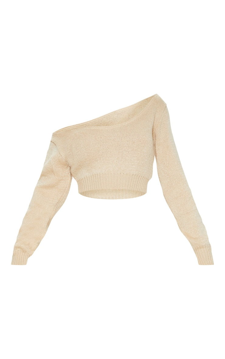 Stone V Neck Off Shoulder Soft Knitted Crop Jumper 3