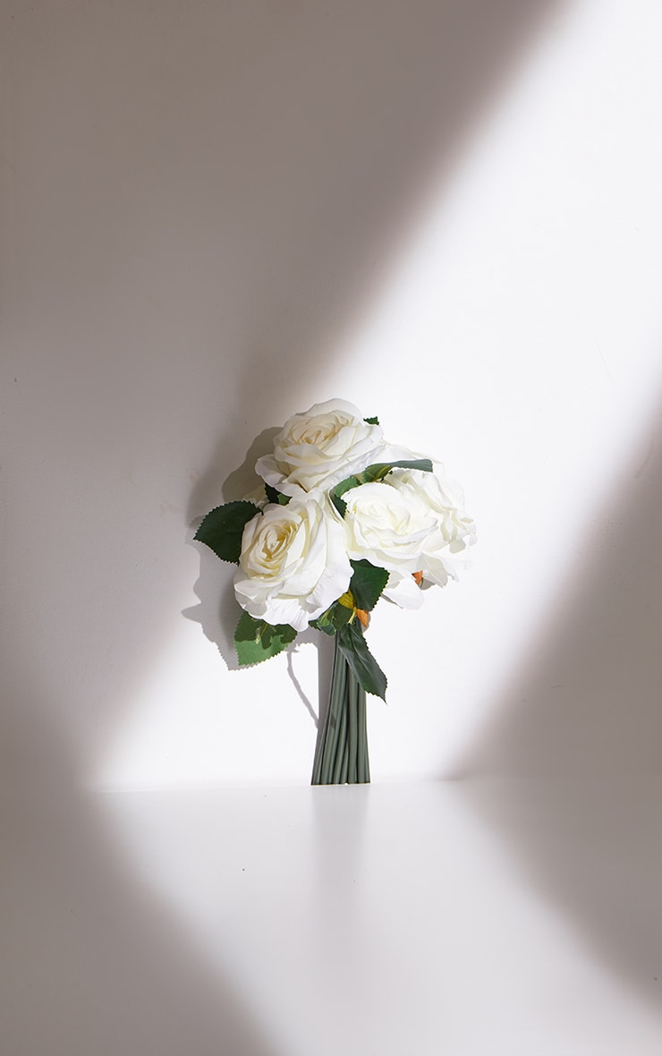 White Silk Eternity Rose Bunch Artificial Flower 4