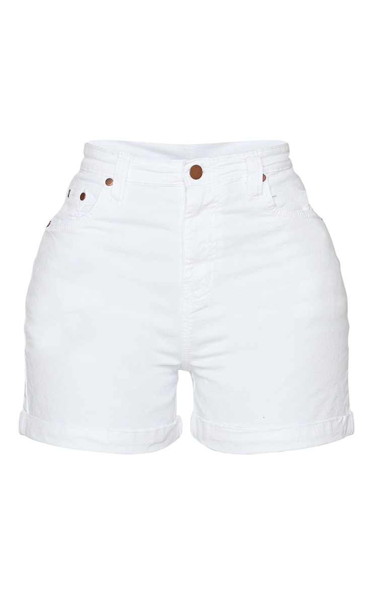 Shape White High Waist Fitted Denim Shorts 6