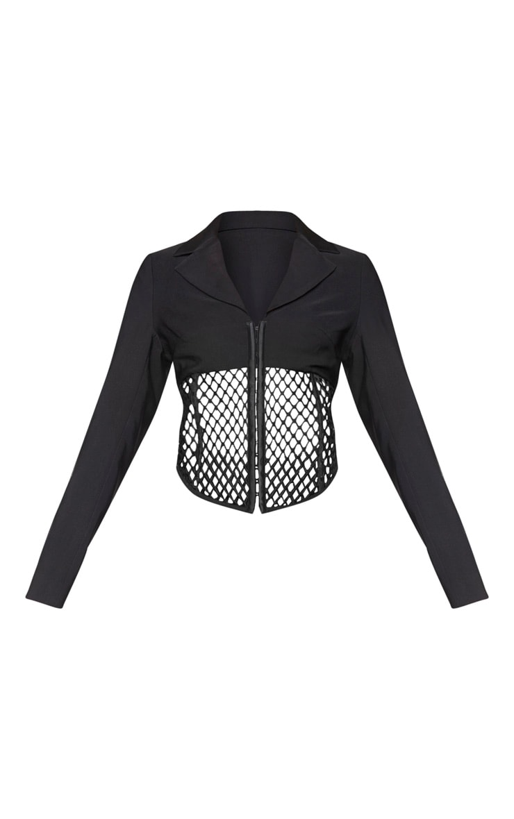 Black Mesh Cut Out Dipped Hem Blazer 5