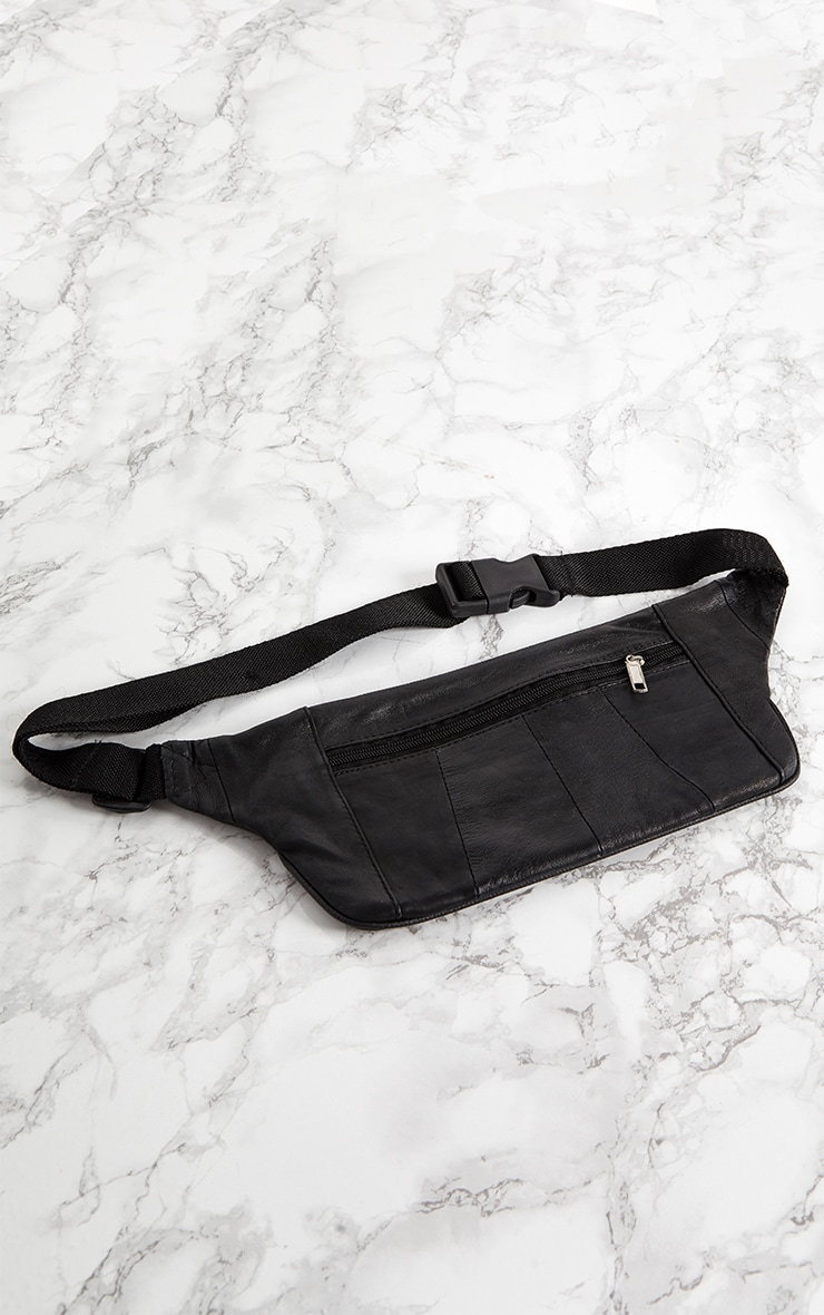 Black Leather Flat Bum Bag 5