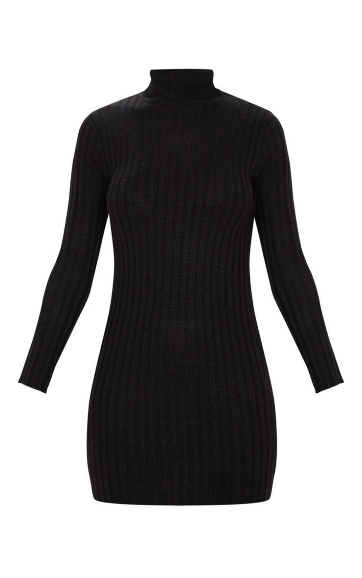 Black Roll Neck Knitted Sweater Dress 3