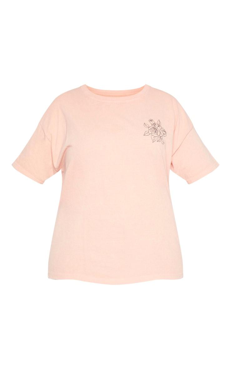 Plus Orange Washed Thanks 4 Nothing Slogan T shirt 3