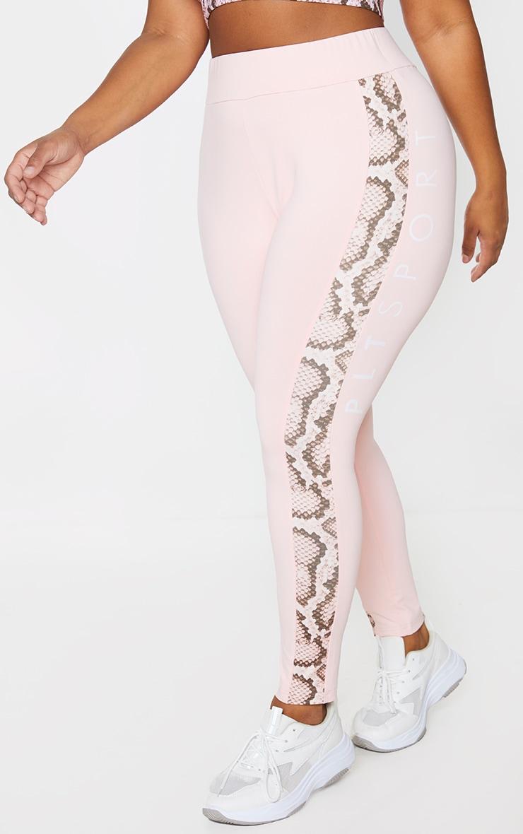 PRETTYLITTLETHING Plus Pink Snake Contrast Leggings 2