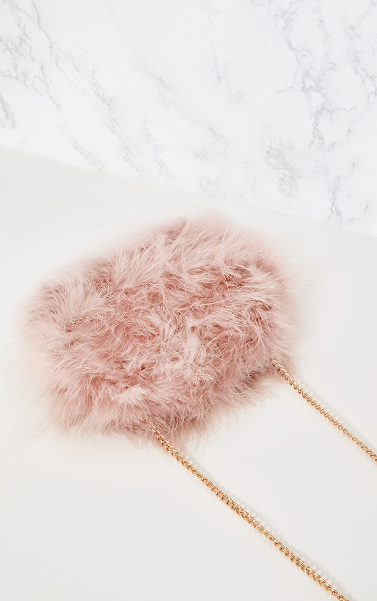 Nude Marabou Feather Clutch Bag 5