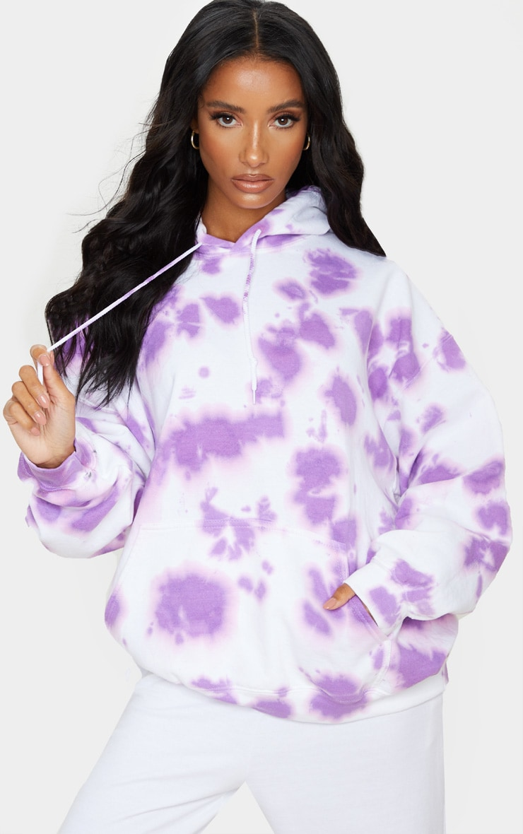 Lilac Tie Dye Oversized Hoodie 1