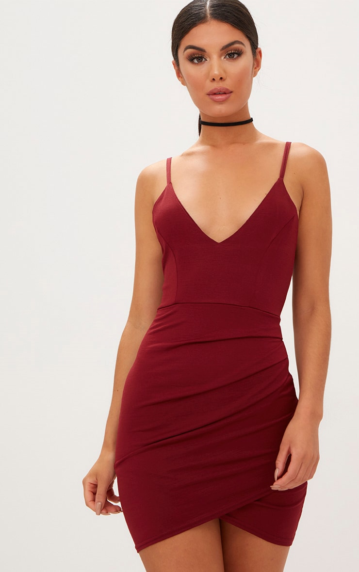 Burgundy Strappy Plunge Wrap Skirt Bodycon Dress