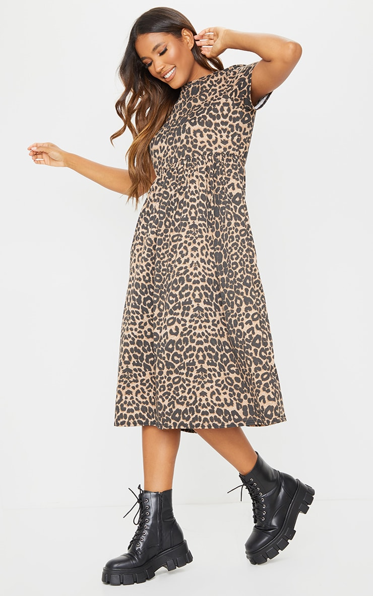 Brown Leopard Print Short Sleeve Midi Smock Dress 3