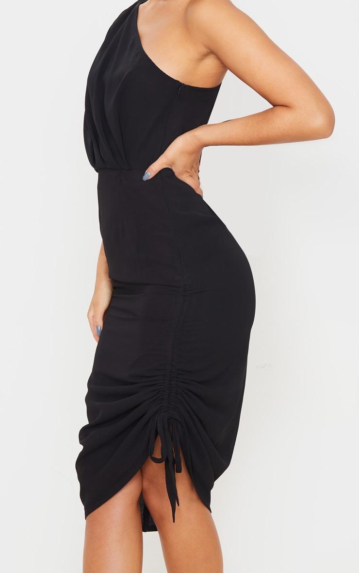 Black Ruched One Shoulder Tie Midi Dress 5