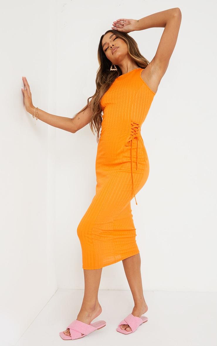 Orange Broderie Rib Sleeveless Midi Dress 3