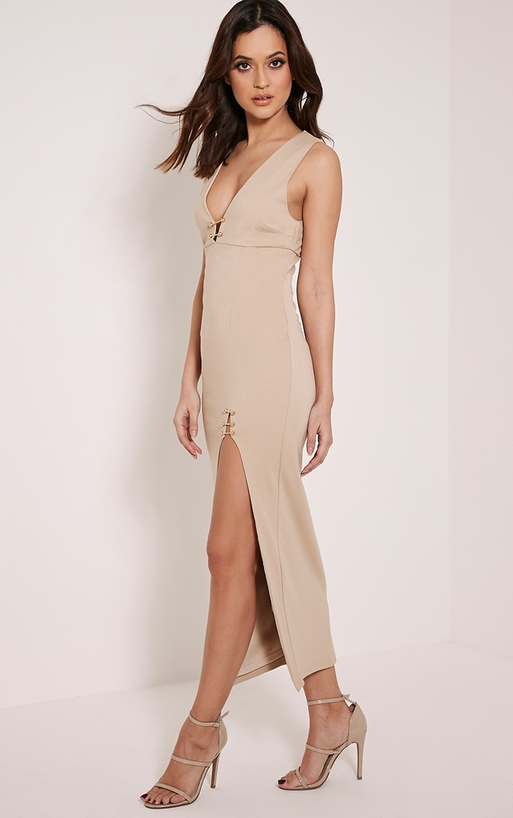 Ally Taupe Pin Detail Plunge Midi Dress 4