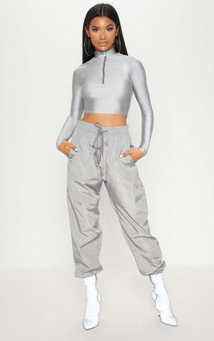 Silver Grey Drawstring Waist Shell Trouser 1