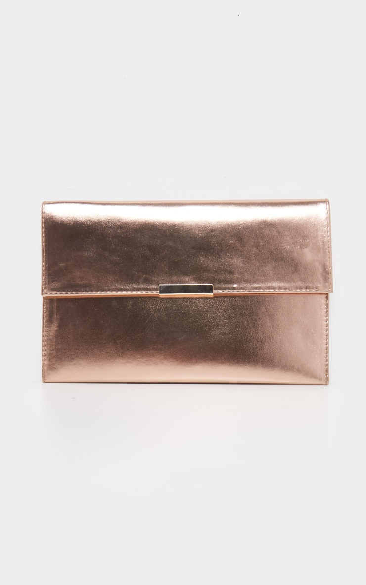 Metallic Rose Gold PU Basic Clutch 2